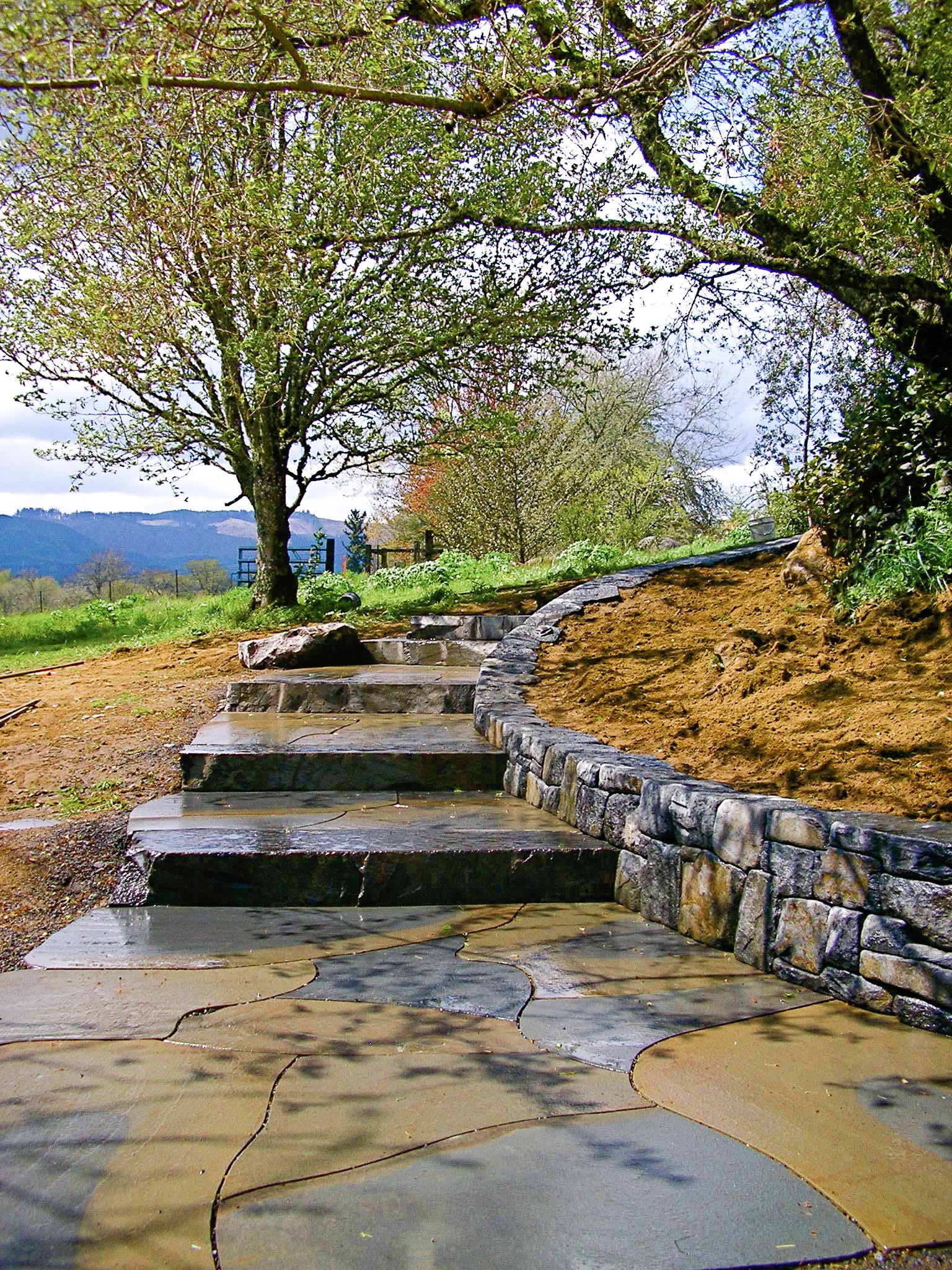 Eric Contey Stonework - Sauvie Island stairs and wall